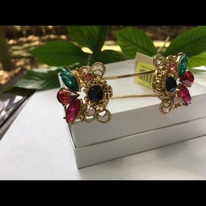 Jewelry - Big gold bangles bracelet with colorful stones